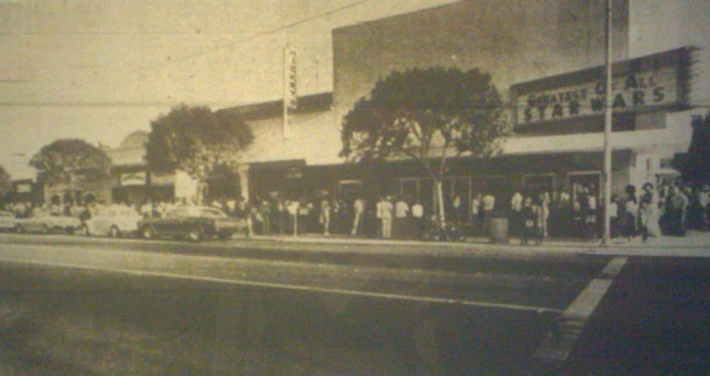 "Lines of eager theatergoers snake around the Fairfield Cinema I to see the debut of ""Star Wars"" in 1977. Click picture to view gallery"