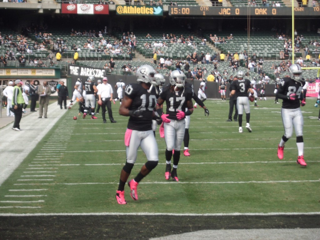 The Raiders warm up before their game against the visiting Jacksonville Jaguars. (photo by Tony Wade). Click to view gallery.
