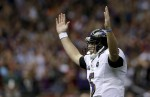 Baltimore Ravens quarterback Joe Flacco celebrates wide receiver Jacoby Jones' touchdown against the San Francisco 49ers during the first half of the NFL Super Bowl XLVII football game Sunday, Feb. 3, 2013, in New Orleans. (AP Photo/Patrick Semansky)