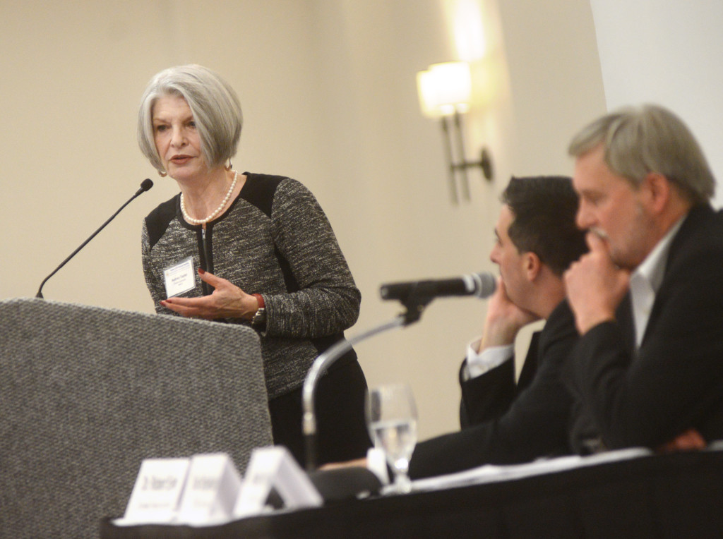 Audrey Taylor, president of Chabin Concepts, speaks at the Solano Economic Development Corporation Annual Meeting, at the Hilton Garden Inn, on Friday. (Robinson Kuntz/Daily Republic)